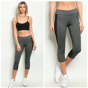 Pants - Mesh panel cropped workout leggings
